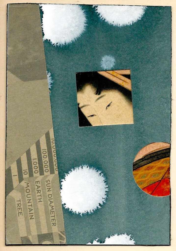 Measuring Glance  mixed media collage